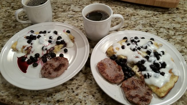Morning coffee with a favorite Keto German Style lemony Pancake w/ blueberries and cream.