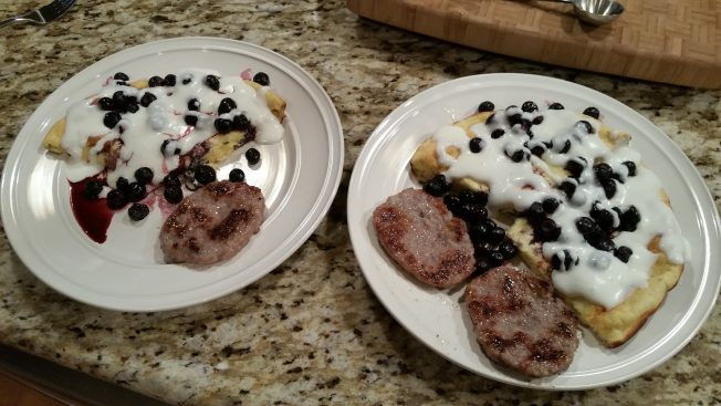 Plated german style lemony flavor with blueberries and cream. Yum!